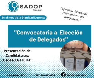 Lee más sobre el artículo CONVOCATORIA A ELECCIÓN DE DELEGADOS